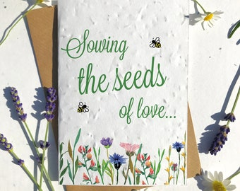 1 x Eco-Friendly Biodegradable Seed Paper plantable Valentine's and Anniversary Card sowing seeds of love gardening floral lovers