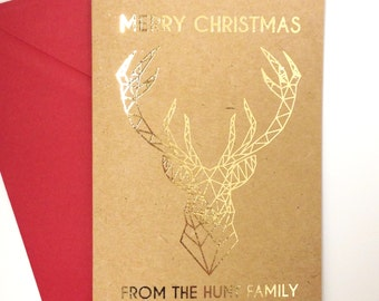 Pack of 4 Personalised rustic kraft and gold foil geometric stag christmas cards