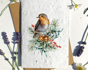 Biodegradable seed paper Christmas festive season greetings card traditional bird bells