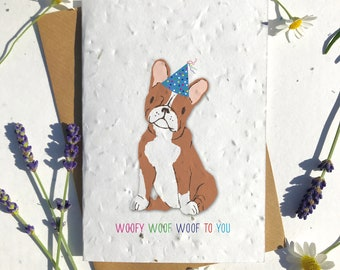 1 x Eco-Friendly Biodegradable Seed Paper plantable birthday card ginger french bulldog