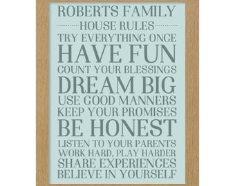 Personalised rules of the home print gift fully customisable
