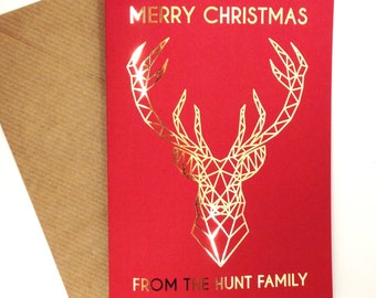 Pack of 4 Personalised red and gold foil stag christmas cards