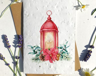 Biodegradable seed paper Christmas festive season greetings card traditional poinsettia lantern