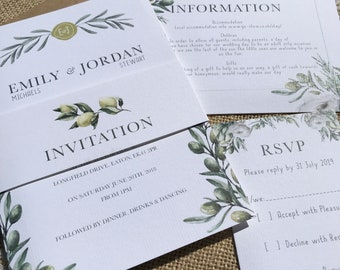 Olive garden Italian countryside wedding invitation package with invite info RSVP and envelopes