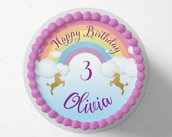 Personalised round or square printed icing cake or cupcake toppers Unicorn Rainbow birthday cake any text and colours
