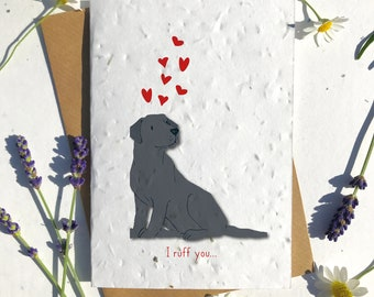 1 x Eco-Friendly Biodegradable Seed Paper plantable Valentine's and Anniversary Card adorable cute black lab