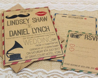 Rustic recycled circus festival kraft wedding invitations with envelopes