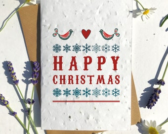 Biodegradable seed paper Christmas festive season greetings card traditional Nordic happy xmas