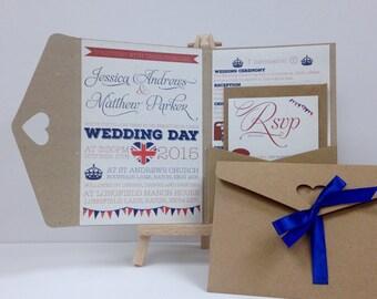 Vintage British kraft and ribbon pocket fold wedding invitation pack