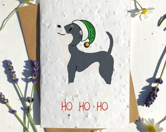Biodegradable seed paper Christmas festive season greetings card traditional chihuahua black