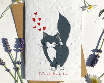 1 x Eco-Friendly Biodegradable Seed Paper plantable Valentine's and Anniversary Card adorable cute black ragdol cat