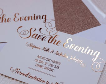 Luxury rose gold foil on silk white wedding save the date or evening cards with glitter lined white envelopes