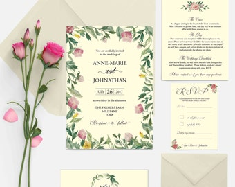 "Personalised printed wedding invitations ""secret garden"" floral elegant UK"