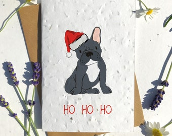Biodegradable seed paper Christmas festive season greetings card traditional Frenchie black