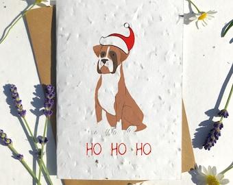 Biodegradable seed paper Christmas festive season greetings card traditional Boxer brown