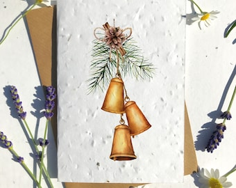 Biodegradable seed paper Christmas festive season greetings card traditional bells tree