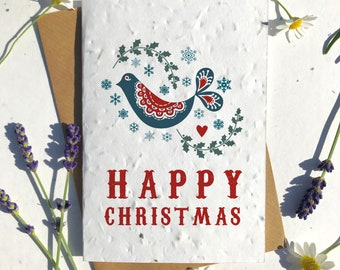 Biodegradable seed paper Christmas festive season greetings card traditional Nordic bird holly