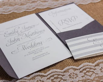 Modern grey and white textured wedding invitation pocket fold package with envelopes, available in any colour
