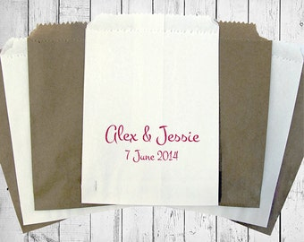 Personalised Wedding Sweet Bags JUST MARRIED HEARTS Candy Cart Wedding Favours Confetti Engagement