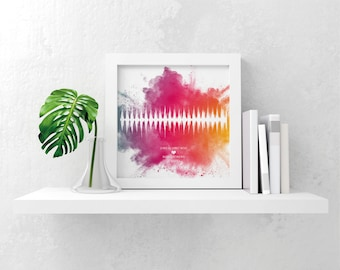 Personalised watercolour background baby heartbeat soundwave scan picture gift print keepsake