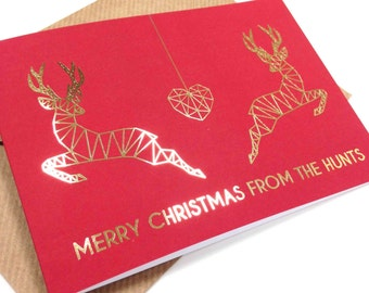 Pack of 4 Personalised red and gold foil couple reindeer Christmas cards