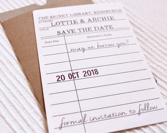 Rustic wedding save the date library cards in a rustic kraft pocket with kraft envelopes