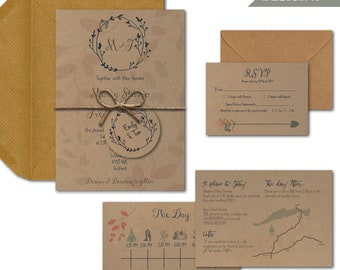 Elegant boho floral textured recycled kraft wedding invitations