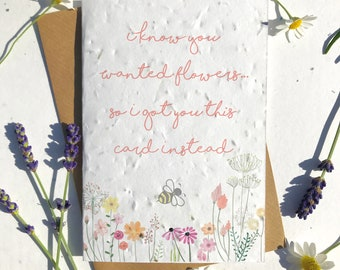 1 x Eco-Friendly Biodegradable Seed Paper plantable birthday card meadow flowers and bee