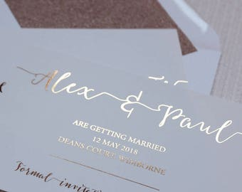 Luxury rose gold foil on silk white wedding save the date cards with glitter lined envelopes