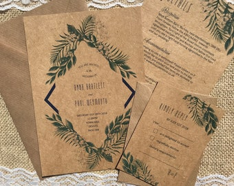Rustic botanical leaves textured recycled kraft wedding invitations with envelopes