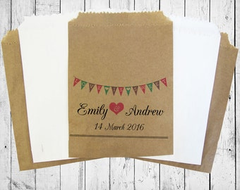 Personalised Sweet Bags HEART BUNTING wedding, engagement, birthday, vintage, candy bags for candy carts, in a variety of different colours