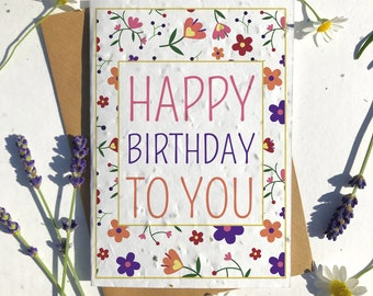 1 x Eco-Friendly Biodegradable Seed Paper plantable birthday card modern floral pattern
