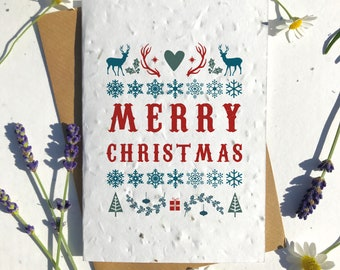Biodegradable seed paper Christmas festive season greetings card traditional Nordic xmas stag