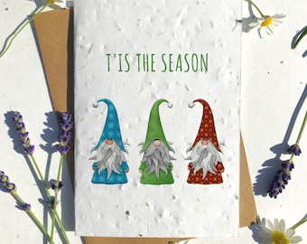 Biodegradable seed paper Christmas festive season greetings card traditional three gnomes