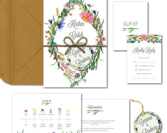 Botanical spring summer floral garden wedding invitation package with invite info RSVP and envelopes