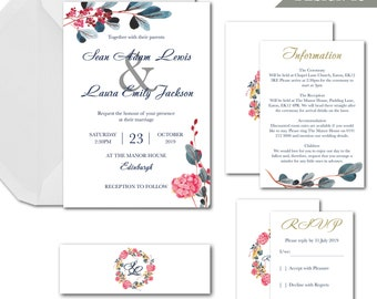 English garden watercolour wedding invitation package with invite info RSVP and envelopes