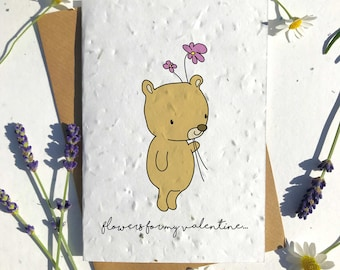 1 x Eco-Friendly Biodegradable Seed Paper plantable Valentine's and Anniversary Card Cute bear and flowers