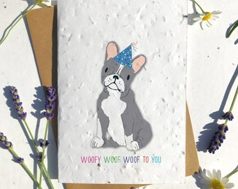 1 x Eco-Friendly Biodegradable Seed Paper plantable birthday card grey french bulldog cute