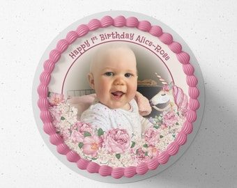 Personalised round or square printed icing cake or cupcake toppers unicorn rose floral photo birthday cake any text and colours