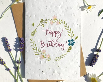 1 x Eco-Friendly Biodegradable Seed Paper plantable birthday card modern birthday wreath
