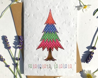 Biodegradable seed paper Christmas festive season greetings card traditional felted tree