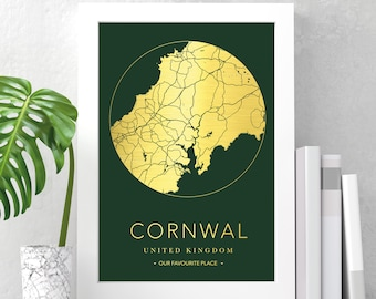 Personalised foil printed round city map | any city | gift print in copper, gold or silver, any city, town or location | ideal new home gift