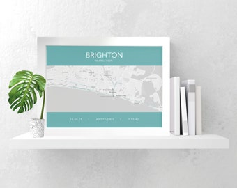Personalised Brighton marathon map print any colours