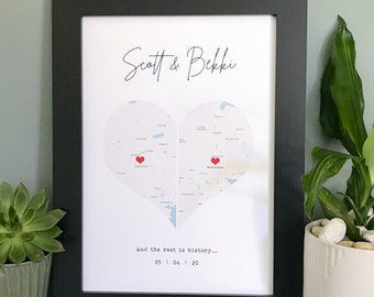 Personalised gift map print   wedding gift   anniversary gift   couples gift print   where we met   engagement gift