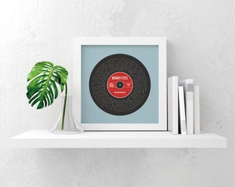 Print your own personalised favourite song lyrics record gift, any song, any colour scheme digital file