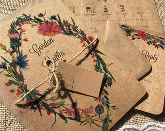 Recycled kraft floral botanical garden festival timeline wedding invitation package with envelopes