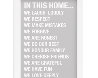 In this home quote print family gift rules of the house framed print