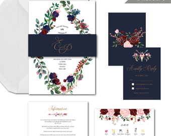 Boho floral navy blush ruby wedding invitation package with invite info RSVP and envelopes