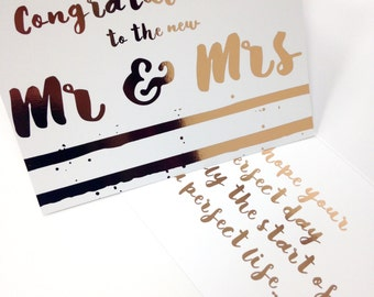 Wedding congratulations to the new Mr & Mrs card rose gold foil