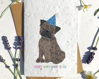 1 x Eco-Friendly Biodegradable Seed Paper plantable birthday card cute brown pug